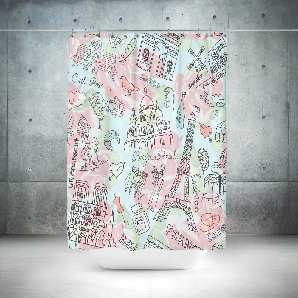 Paris Theme Shower Curtain Doodles Mint And Pink