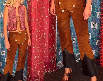 ON SALE Leather Pants Suede Pants Suede Bell Bottoms 70s Leather Suede Bell Bottoms Pants