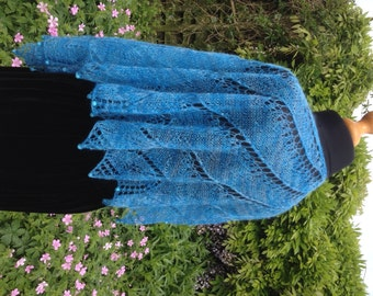 Turquoise Mohair Shawl with beads
