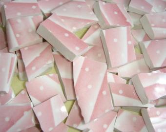 Mosaic tiles - White Dots on Pink Stripes 100 hand cut china mosaic tiles
