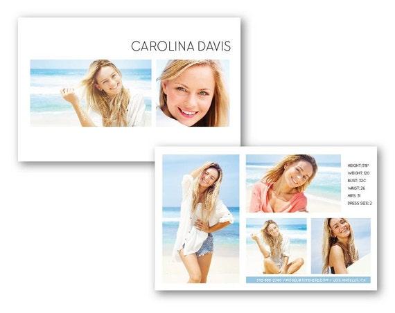 comp card beach beauty model zed card psd photoshop template for