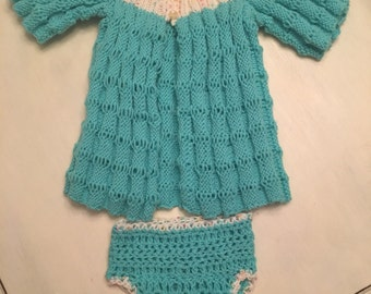 Baby Sweater with Matching Bloomers