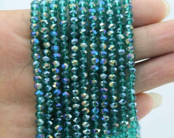 150 Pieces,Faceted  Emerald Aqua Crystal Glass, Emerald Aqua Crystal Beads,One Strand,Crystal Beads,Gemstone Beads---4mm---17 inches--CY007
