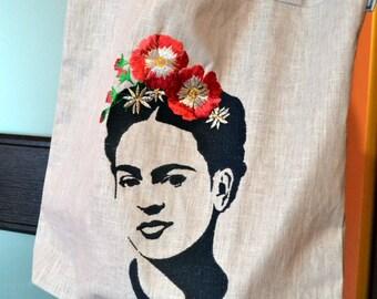 Frida Kahlo bag with embridery. LINEN TOTE BAG