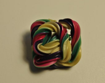 Vintage Button CELLULOID EXTRUDED SPAGETTI Style