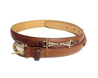 Talbots Camel Horsebit Leather Belt with Brass Buckle - Size Medium