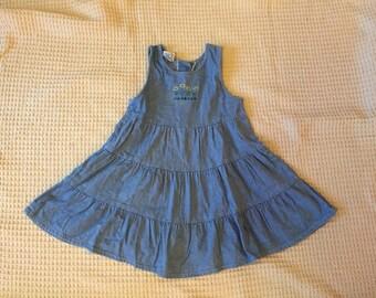 Vintage 90s OshKosh B'Gosh Denim Dress Girls Size 6