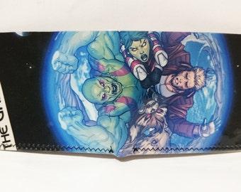 guardians 1 recycled comic book wallet - slim wallet - hanmade wallet - card holder - thin wallet - vinyl wallet - men's wallet
