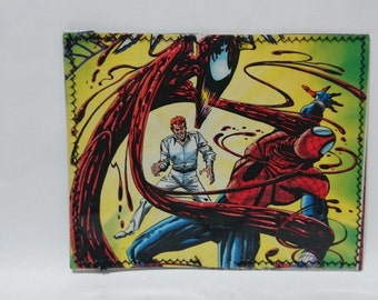 carnage spiderman recycled comic book wallet - slim wallet - hanmade wallet - card holder - thin wallet - unisex wallet - men's wallet