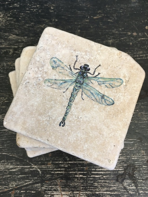 Blue Dragonfly Stone Coasters Puddle Paints Artwork Blue