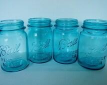 Antique Ball Perfect Mason Pint Jars - CHOICE - blue, aqua, c.1923-1933 - canning, retro kitchen, country, farmhouse, cottage, collectible