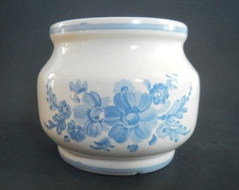 Vintage White Pottery Bowl - light blue flowers - FIDO, mid century, kitchenware, mixing bowl, cottage chic, farmhouse,home decor