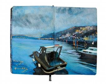 "Fine Art Print - Original Istanbul Cityscape Painting from Artist Travel Journal - ""Evenings in Arnavutkoy"""