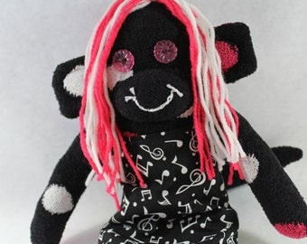 SALE! / Sock Monkey / Polka Dot / Hot Pink and Black / Rock and Roll / Music Notes / Treble Clef / Musician Gift / Nursery Decor / Gifts
