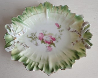 RESERVED~Pretty small antique porcelain dish~RS Prussia~Sweetest ribbon bows form with floral decoration~c1910~Bon bons or Pin tray use