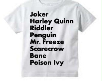 Batman Villains Tee // Kids Tee// Joker Harley Quinn Riddler Penguin Bane Scarecrow Poison Ivy Mr. Freeze  // Kids Clothing // Villains