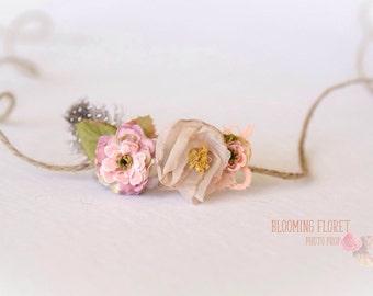 Organic Style Newborn tieback. Boho  flower tieback. Newborn Photography Prop.
