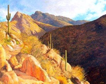 Romero Trail Late Afternoon Original Oil Painting
