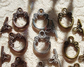 20 Sets Medium Small Toggle Clasps. 3 Colors Available!  Antique Bronze, Silver and Copper. 15mm Hoop. 17mm TBar.  ~USPS Ship Rates /Oregon