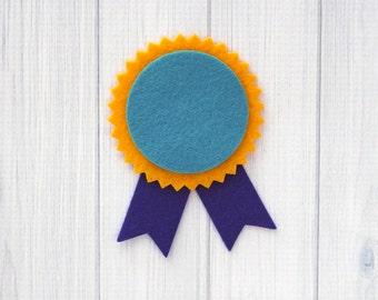Felt Award Ribbon, 12 pieces - Die Cut Shapes - You Choose Colors