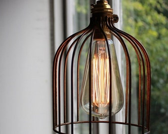 ON SALE: Industrial Vintage Style Hanging Wire Cage Light with Textile Cord - available in Black or Bronze
