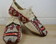 Size UK4 US6.5 EU37:Ladies Handmade Oxford Style shoe. Vintage Tribal Textile and leather. All hand constructed.