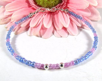 Pink and Blue Seed Bead Bracelet
