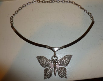 Cute Silver Tone Butterfly Necklace