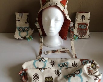 Hooty Tula print accessories for baby carrier.  Includes a matching key fob!