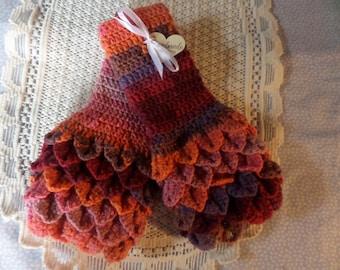 Fingerless gloves,  crochet mittens,  wristwarmer gloves,  dark autumn colour,   autumn gloves , handmade gloves,  crocodile stitch