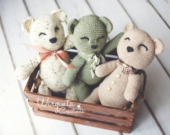 Large crochet teddy bears 41cm long. Handmade. Three colour options available.Photo prop. Made to order
