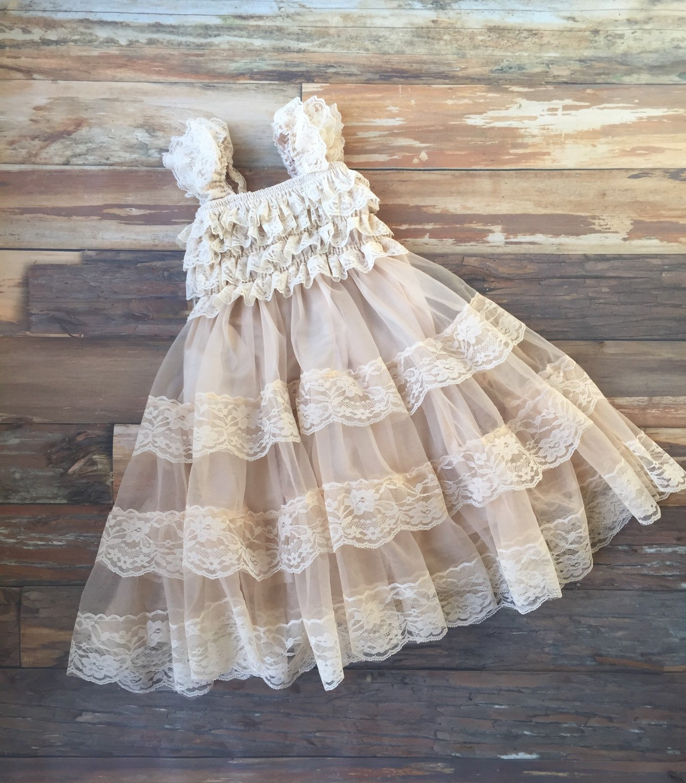 Flower Girl Dress. Champagne Dress. Rustic Flower Girl Dress