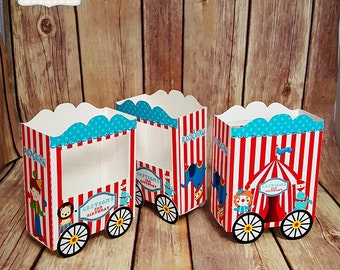 10 Circus Personalized Popcorn cart Box. Pop Corn Box, treat box, favor box - We do it in any themes, for birthday, wedding, baby shower