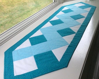 Turquoise Table Runner Handmade Quilted Aqua Patchwork