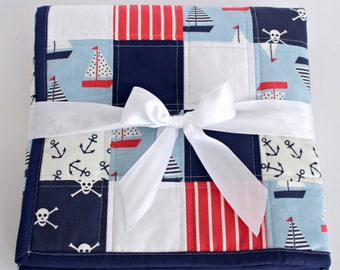 Baby Quilts Handmade, Heirloom Baby Quilt, Crib Quilt, Patchwork Quilt, Nautical Baby Quilt, Baby Shower Gift, Nautical Nursery