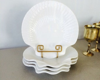 Vintage Olfaire Portugal Shell Plate - set of 4 | white scallop shell plate, nautical decor, beach dinnerware, shell dinner plates