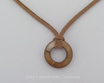 Brown Suede Choker with Brown and Tan Round Charm, Suede Choker, Brown Choker Necklace,  Popular Necklace