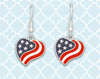 American Flag Heart Earrings - 01273