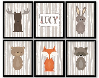 Woodland Nursery Art, Woodland Nursery Decor, Forest Animal Art, Birch Tree Forest Animals Fox Moose Rabbit Bear, Woodland Girl Nursery