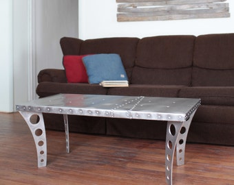 Brushed Finish JetSet Coffee Table + Aluminum | Aviator Inspired Metal  Urban Industrial Modern Designer Furniture