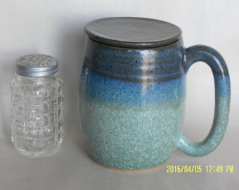 Lidded Mug with Blue, Turquoise, and Green