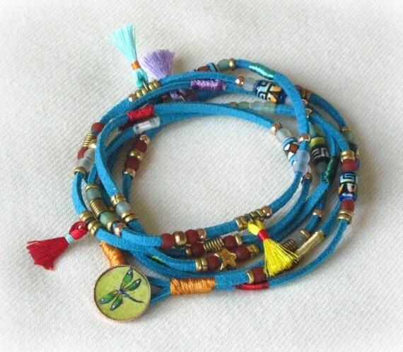 Teal wrap bracelet, Wrap bracelet - layer necklace, Suede wrap bracelet, Boho jewelry
