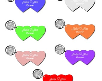 Personalized Double Heart Acrylic Mirror keychain - key ring