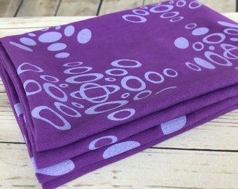 Purple fabric, cotton sateen fabric hand dyed, hand printed with ellipse pattern design in lilac, fabric paneling