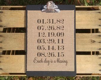 "8.5"" x 11"" Burlap Print // Important Dates"