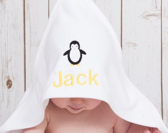 Penguin Baby Towel | Personalised Baby Towel | Penguin Hooded Towel for Baby Girls or Baby Boys | Ideal for the bath, pool or beach |