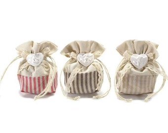 Natural Fabric Bags Gift Pouches Party Favor with Plaster Angel Set of 12