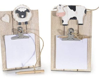 Memo Holder Wall Blocknotes Wooden Sheep or Cow