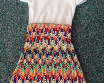 T-shirt Maxi Dress, White t Shirt with Multicolor children's maxi dress.