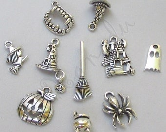 Halloween Charms 10PCs Mix - 10/20/50 Witch Pumpkin Spider Ghost Vampire Pendant Findings CM8920